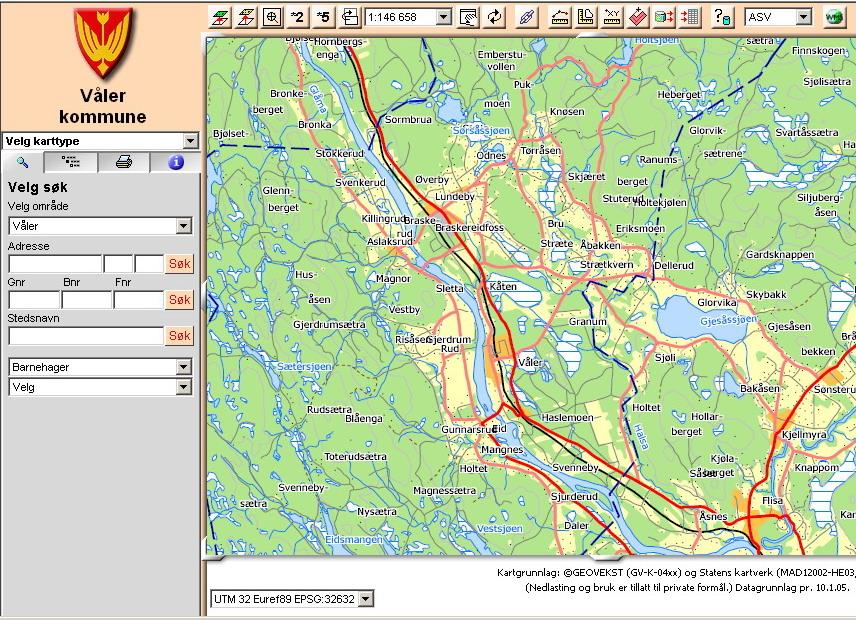 digitalt kart Selvbetjent kartløsning   Kjøp av digitale kartdata   Våler kommune digitalt kart
